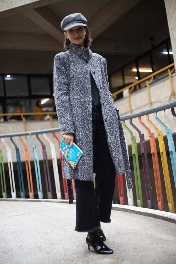 Palton cu guler tunica din lana bucle